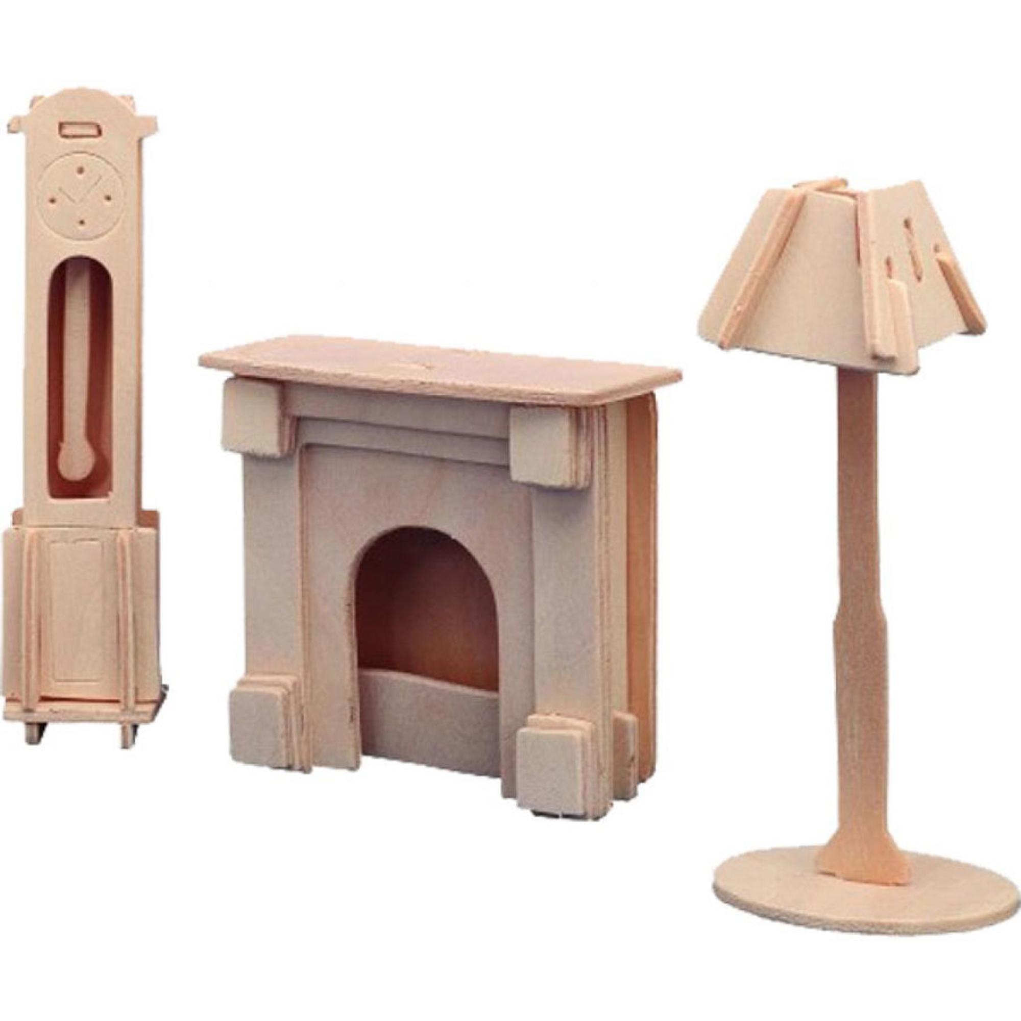 Игровой набор Мебель для кукол Wooden Toys Каминная комната фото
