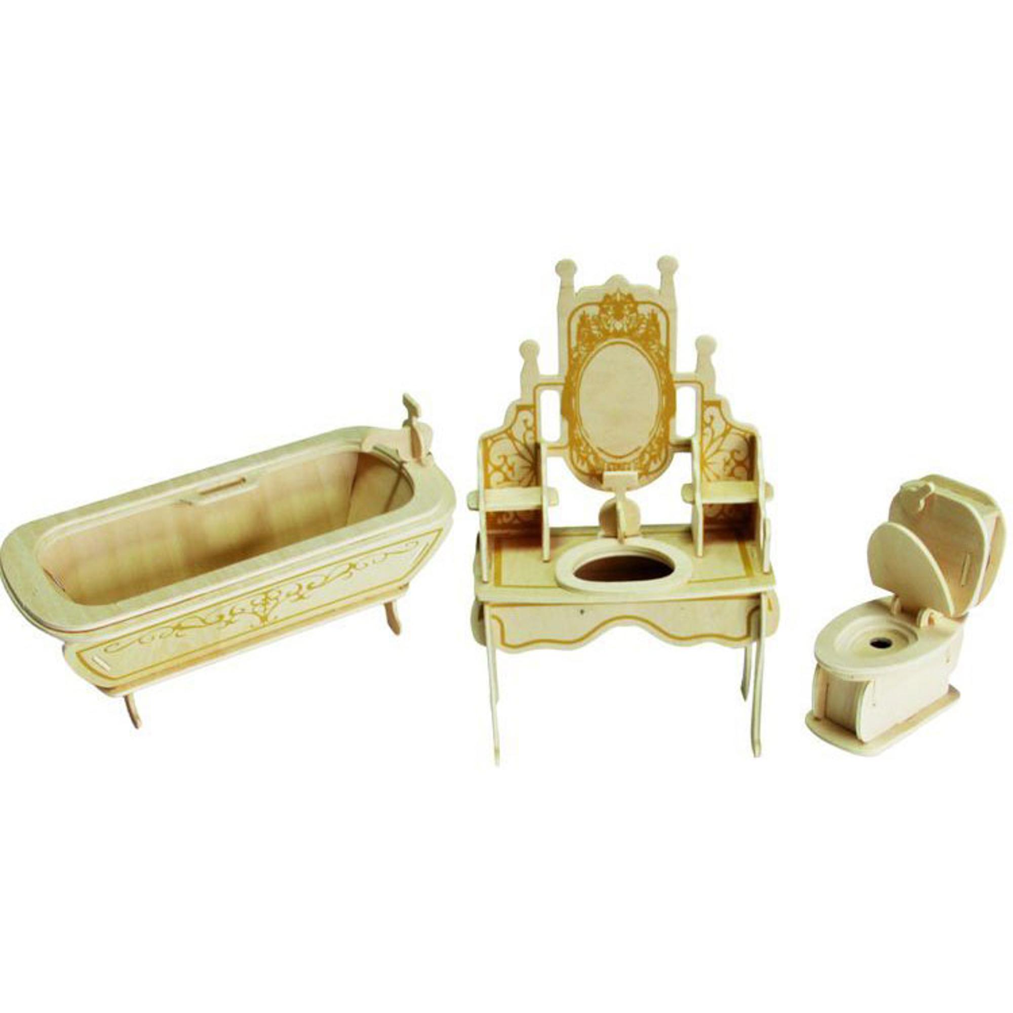 Игровой набор Мебель для кукол Wooden Toys Ванная комната