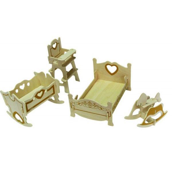 Купить Игровой набор Мебель для кукол Wooden Toys Спальня, Китай, бежевый, дерево, Наборы игровые