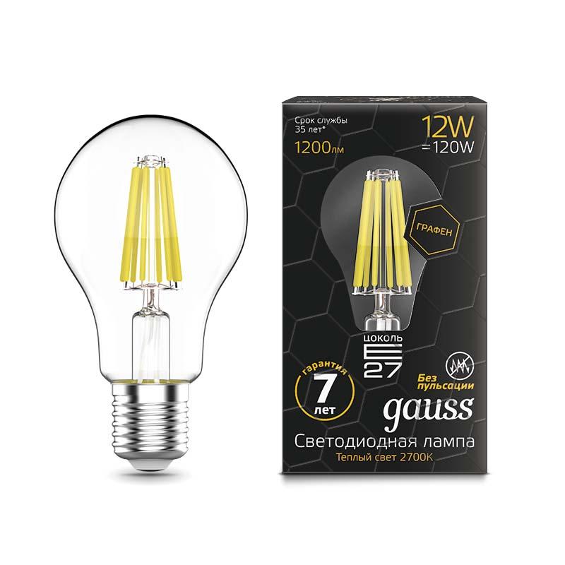 Лампа Gauss LED Filament Graphene A60 E27 12W 1200lm 2700К 1/10/40