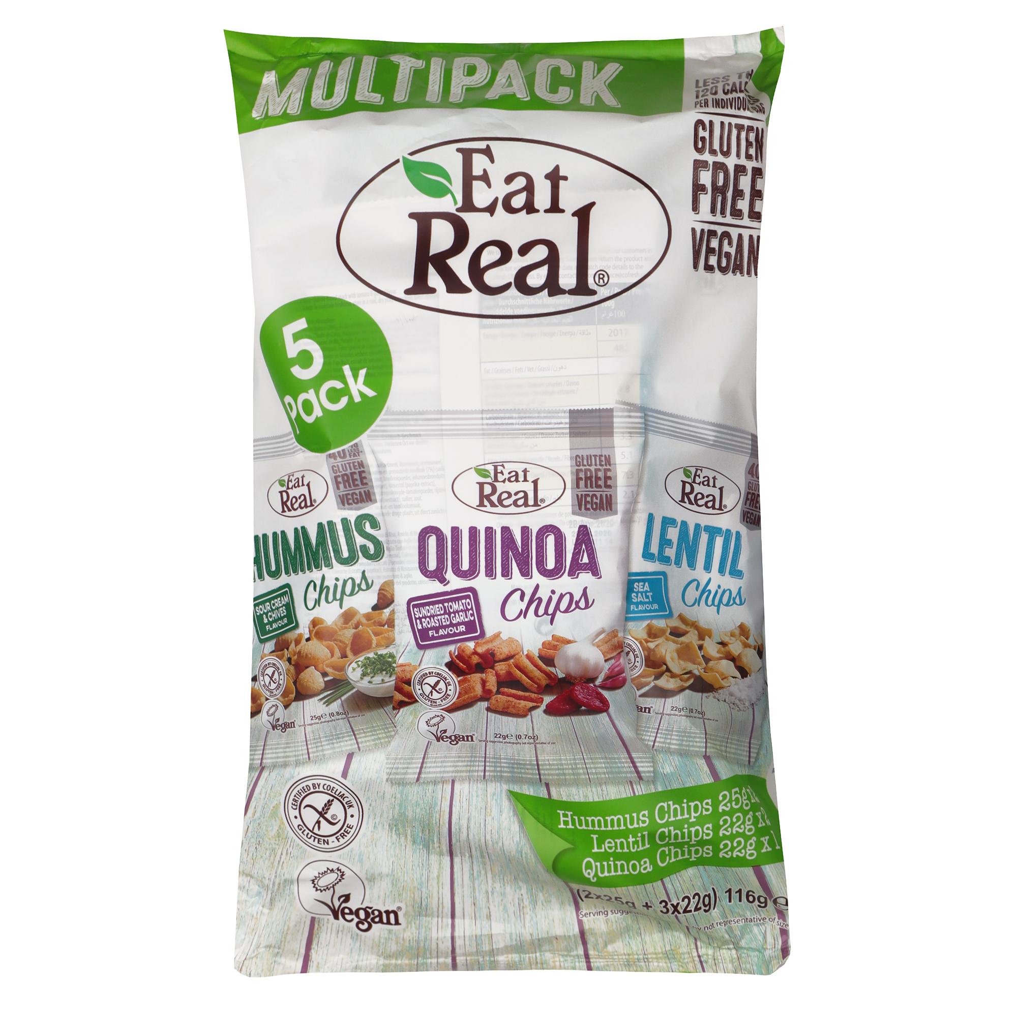 Чипсы Eat Real Хумус, Чечевица, Киноа 5 шт