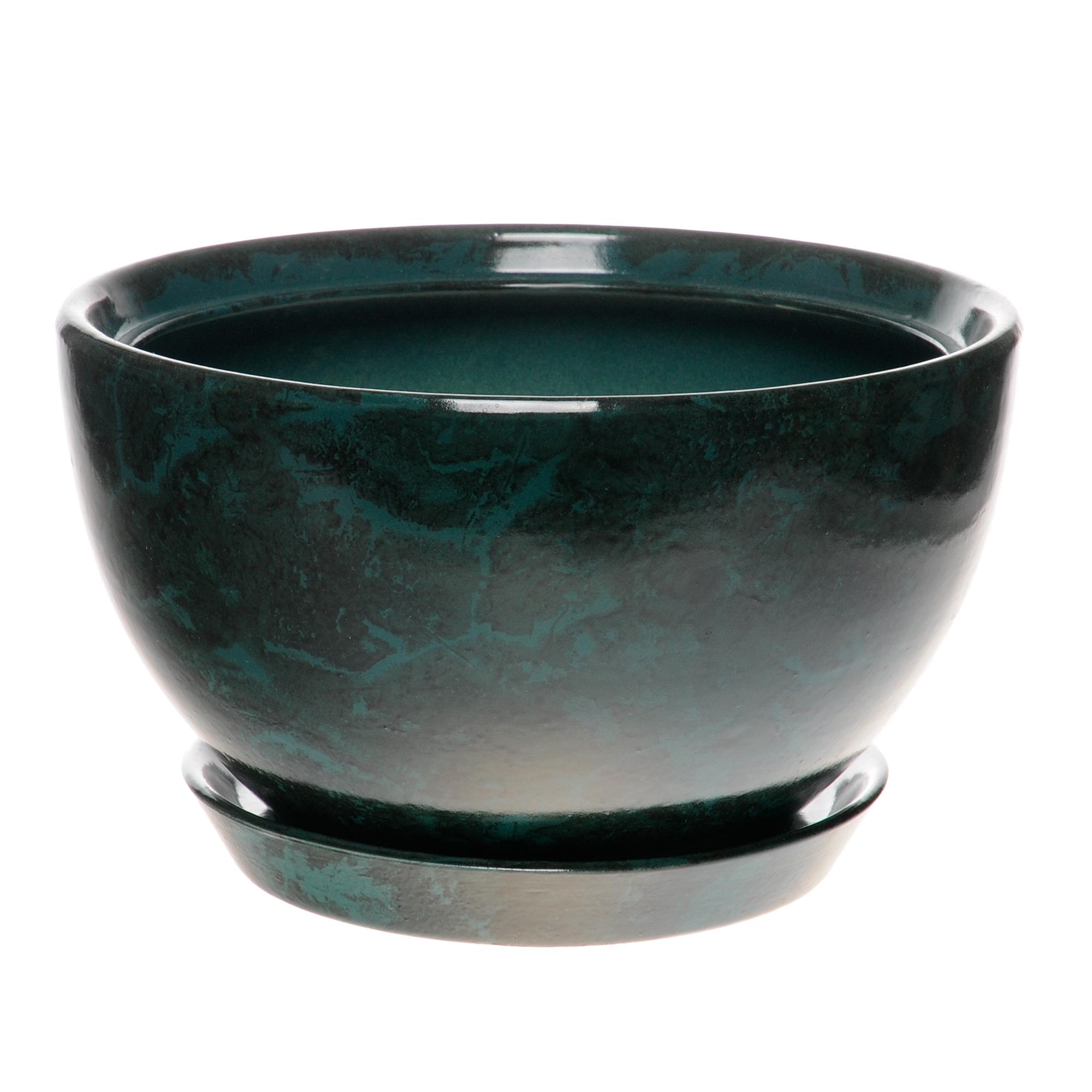 Горшок для цветов декоративный Гончар камелия №1 (малахит), 18 см