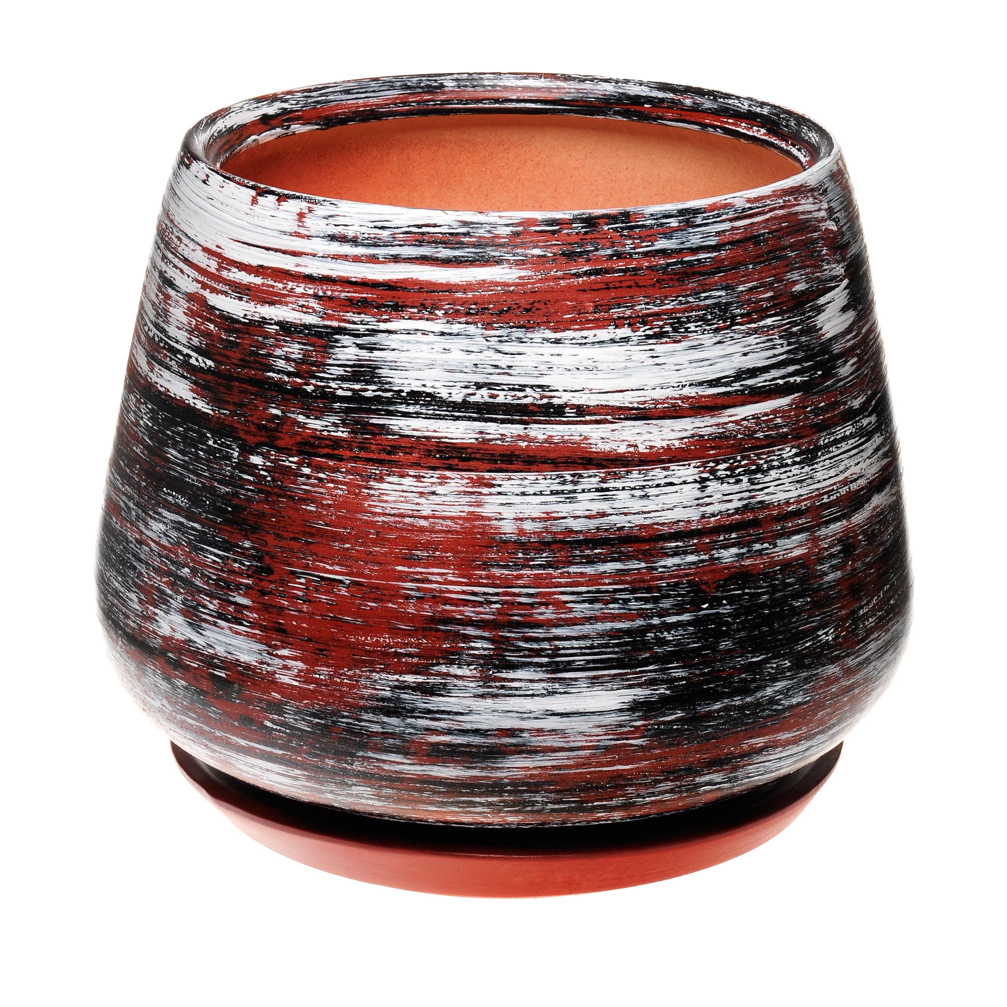 Горшок для цветов декоративный Гончар скарлет №2 коричневый полоска 19х22 см