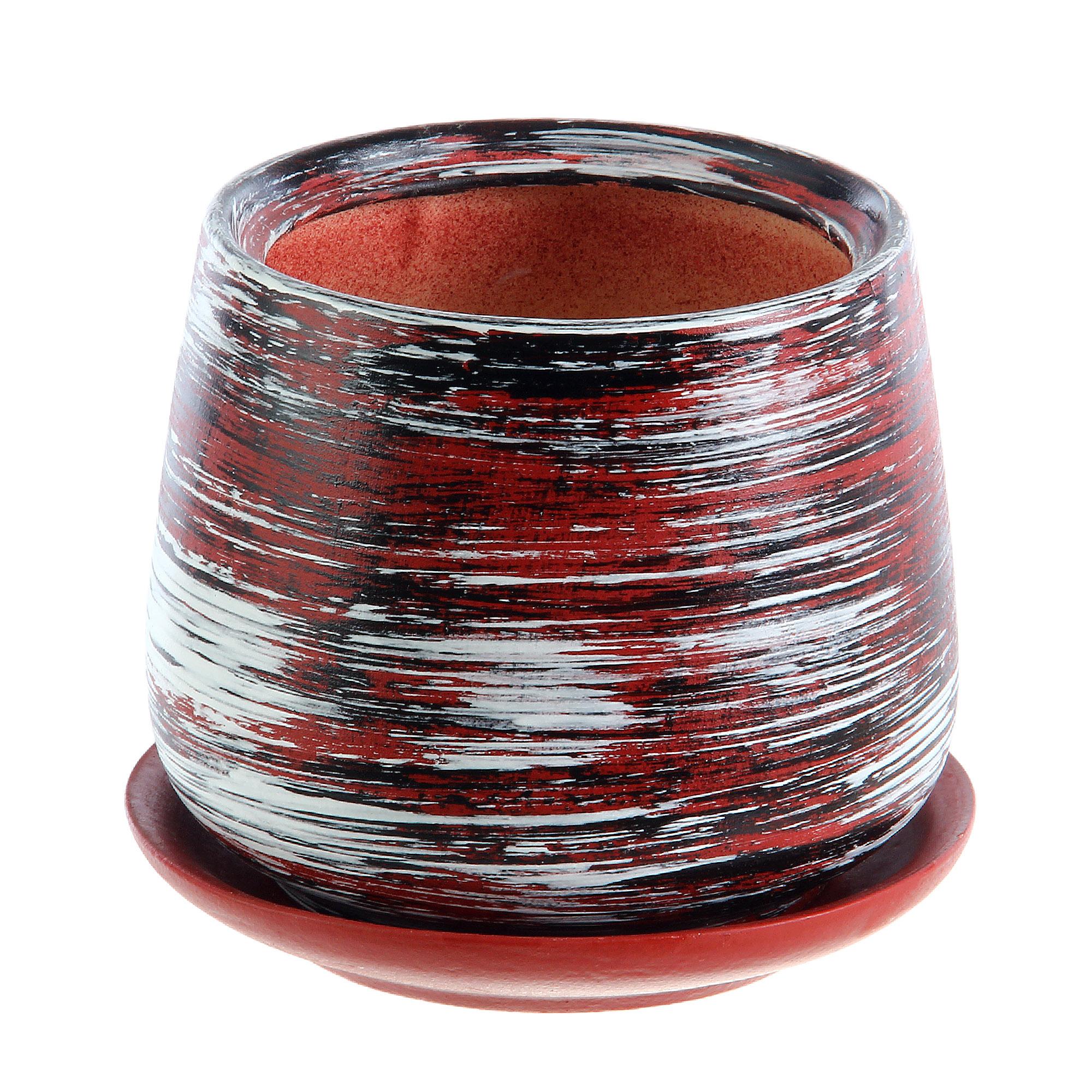 Горшки для цветов Гончар декоративные скарлет №3 (коричневый полоска)