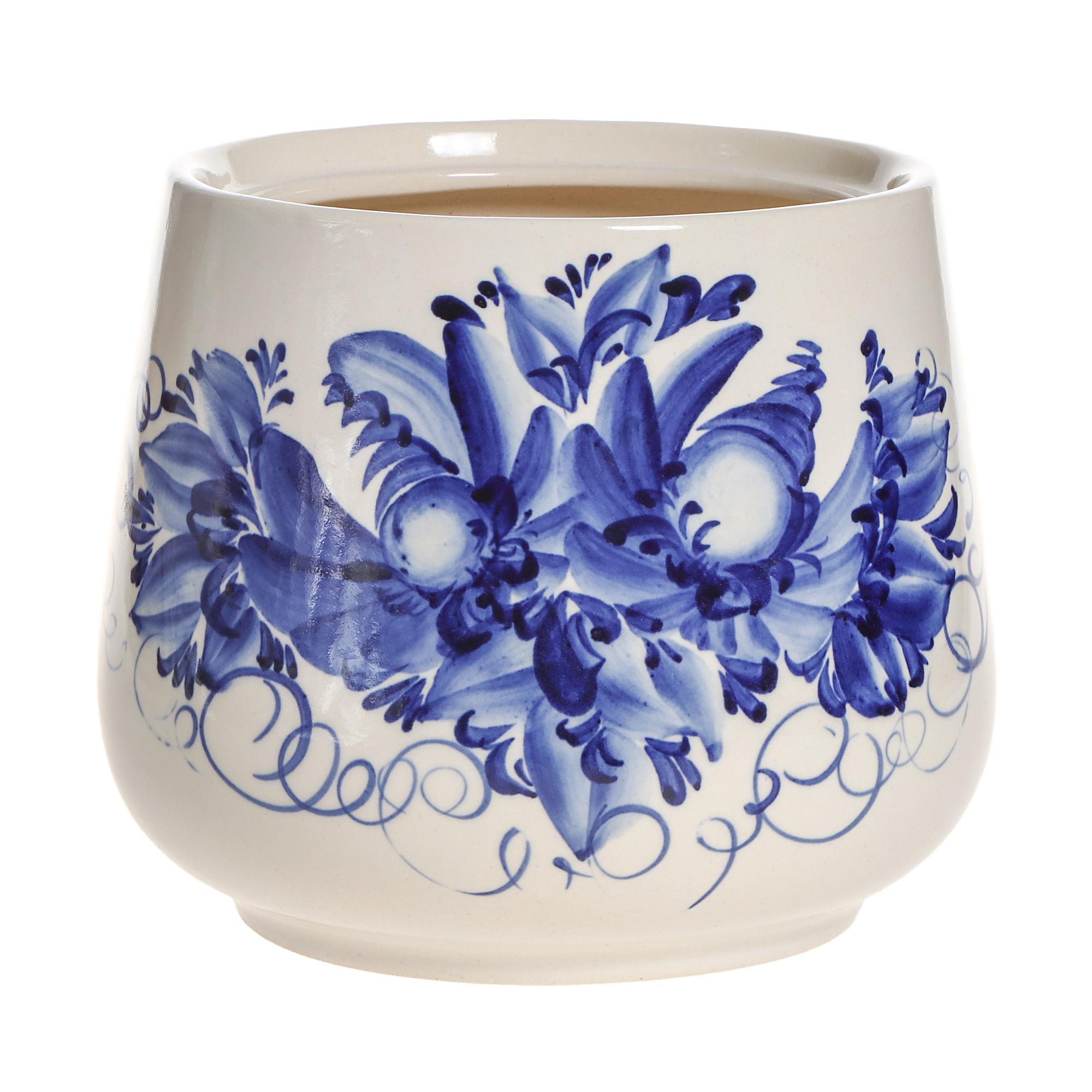 Горшки для цветов декоративные Гончар Скарлет №2 (синий цветок) 22 см