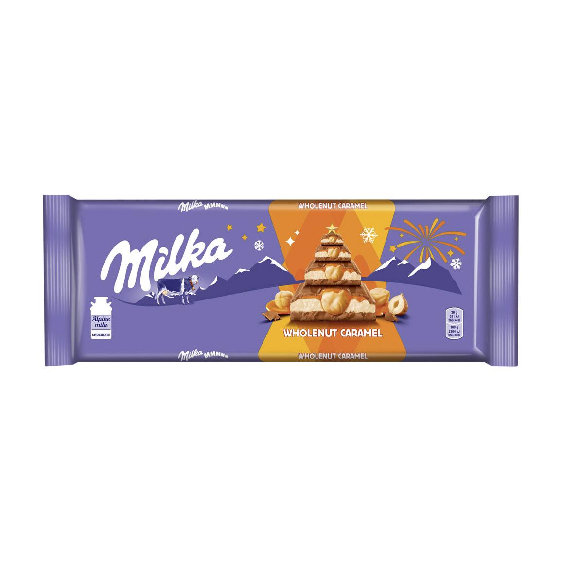 Шоколад молочный Milka с молочной и карамельной начинками и обжаренным цельным фундуком 300 г