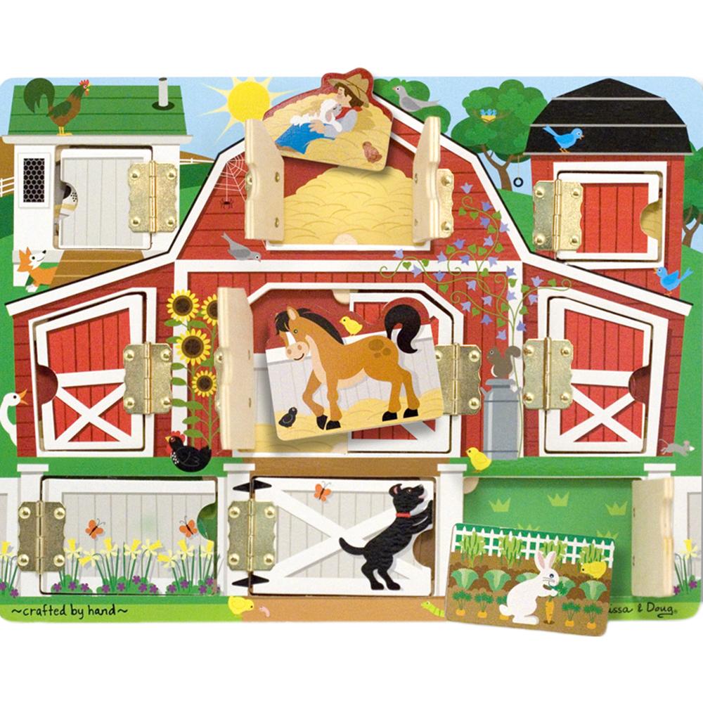 Купить Игровой набор Melissa&Doug Доска с окошками Ферма, разноцветный, дерево, металл, для мальчиков, для девочек, Наборы игровые