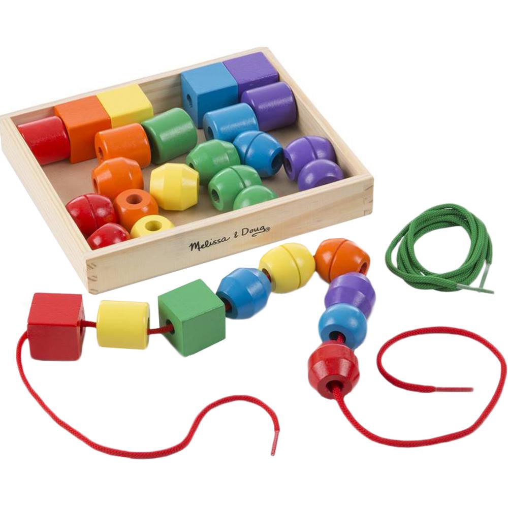 Купить Игровой набор Melissa&Doug Первые навыки Первые бусики, разноцветный, дерево, текстиль, для мальчиков, для девочек, Наборы игровые