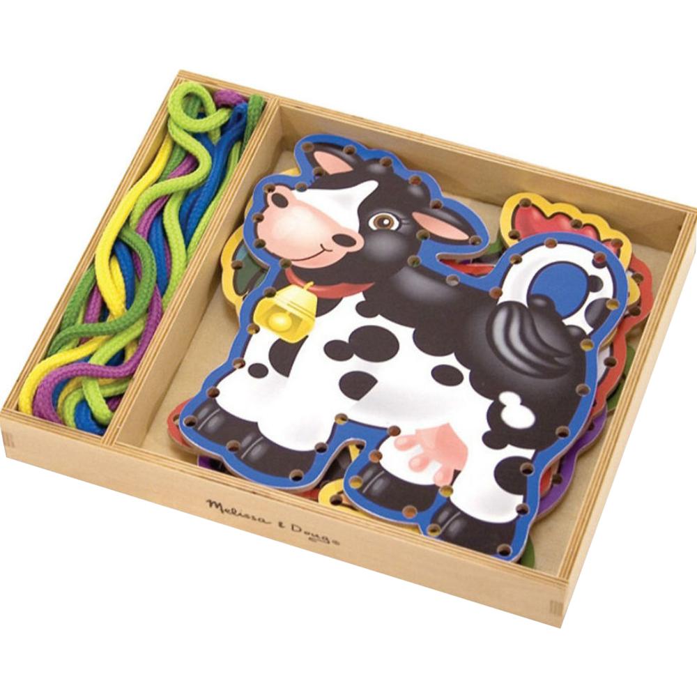 Купить Игровой набор Melissa&Doug Шнуровка Ферма, разноцветный, дерево, текстиль, для мальчиков, для девочек, Наборы игровые