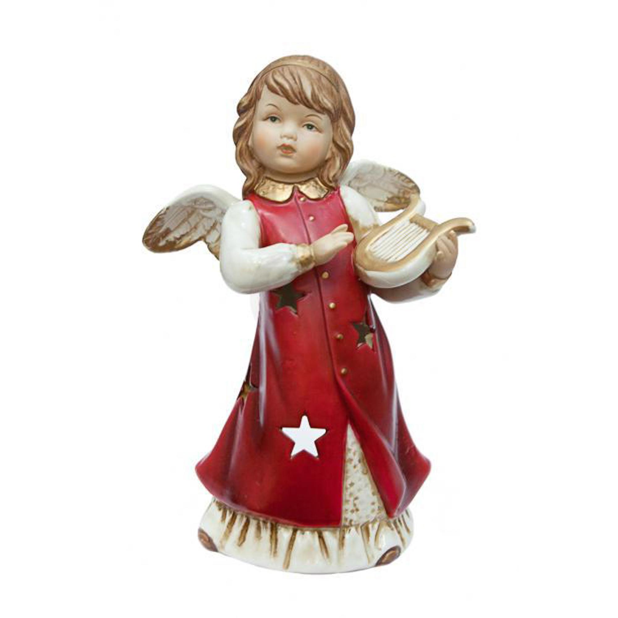 Подсвечник Angel Craft Ангел музыкальные инструменты красный 20 см
