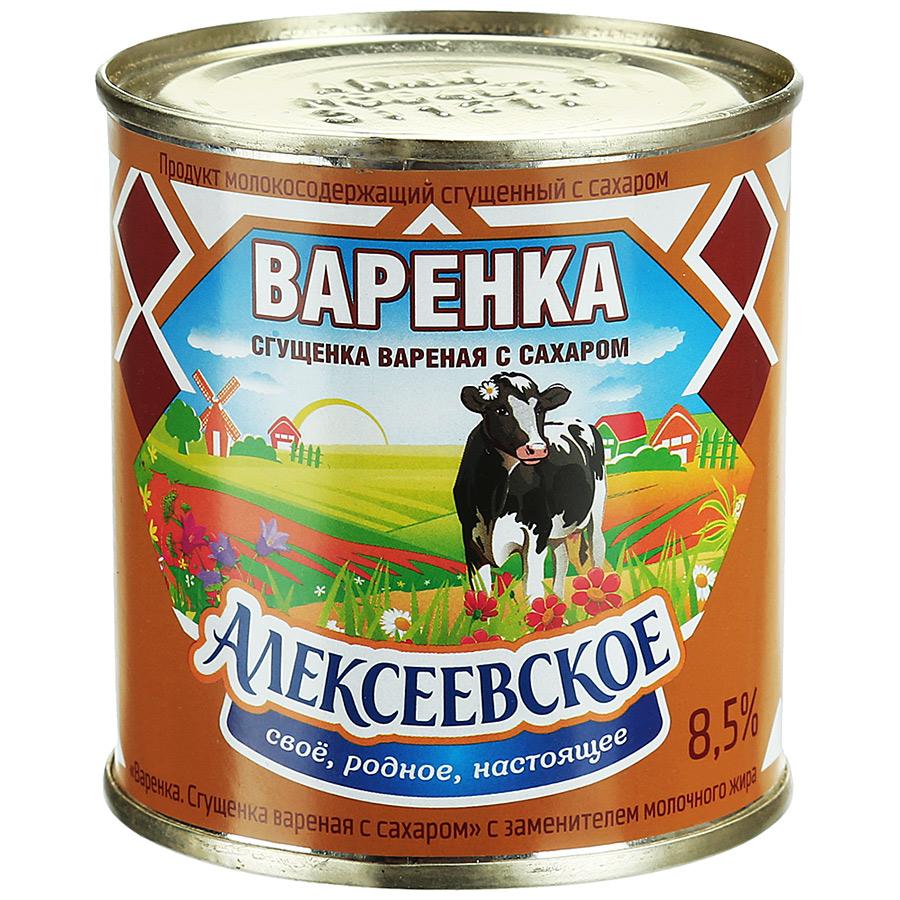 Молоко Алексеевское вареное сгущенное с сахаром 8,5% 360 г алексеевское бзмж молоко сгущенное с сахаром алексеевское