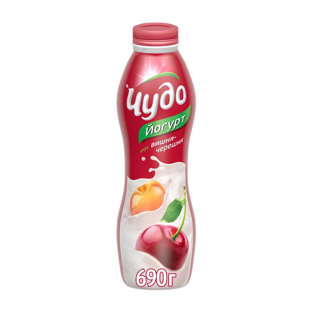Фото - Йогурт питьевой Чудо Вишня, черешня 2,4% 690 г йогурт питьевой активиа вишня семена чиа 2 1% 260 г