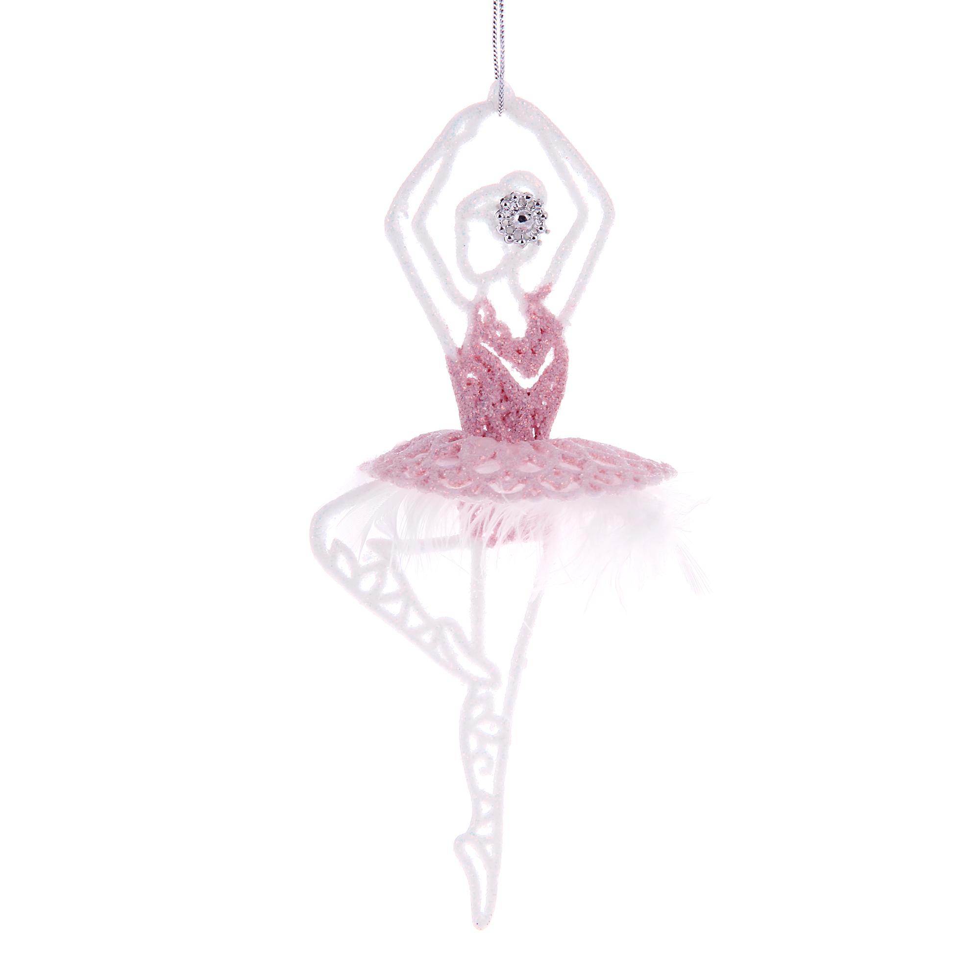 Украшение балерина 150мм бело-розовая Weiste
