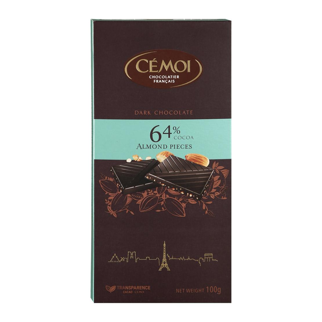 шоколад cemoi горький 72% какао 100 г Шоколад Cemoi темный с карамелизированными кусочками миндаля 100 г