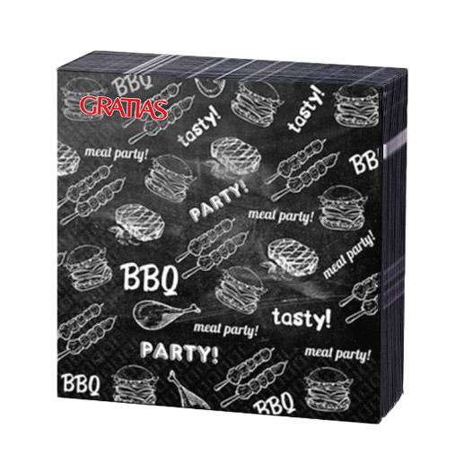 Салфетки бумажные Gratias BBQ Party трехслойные 24х24 см 20 шт