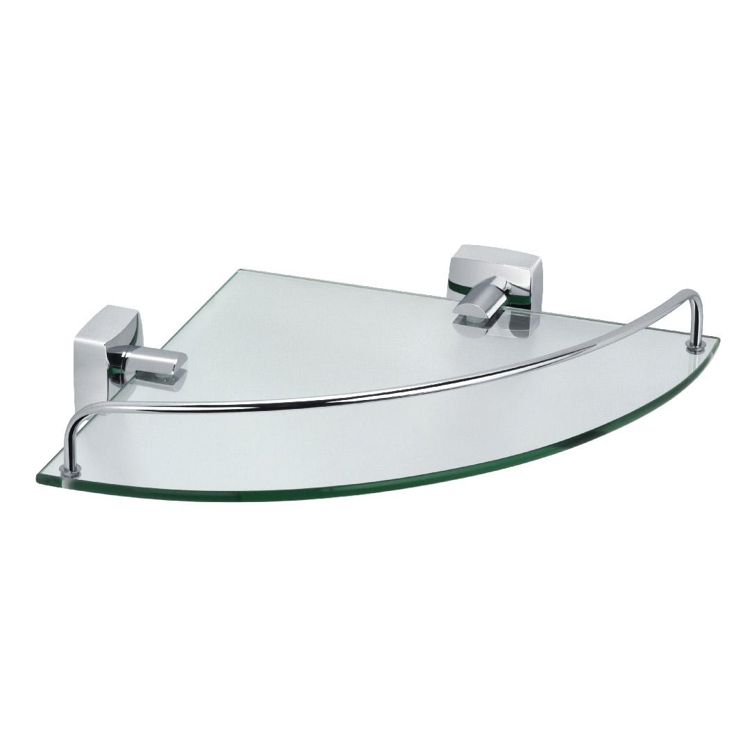 Купить Полка стеклянная угловая Fixsen Kvadro FX-61303A, полка, Китай, латунь, метсплав, пластик, стекло, хром