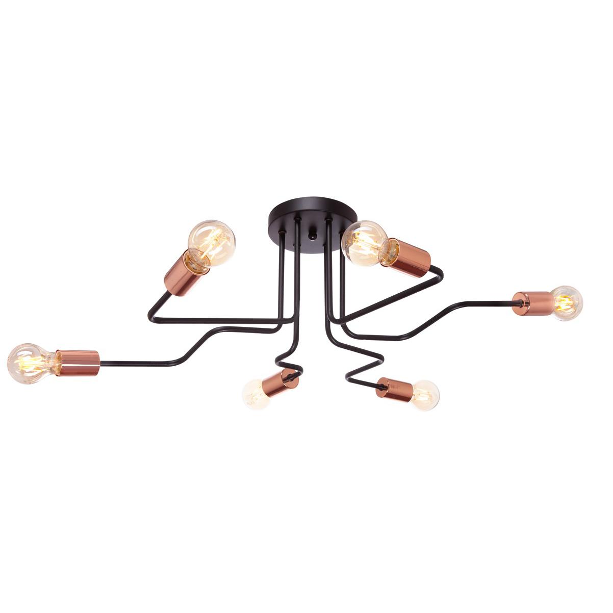 Люстра потолочная J-light DALLAS 1060/6C E27*6*60W кофе/медь/без плафона
