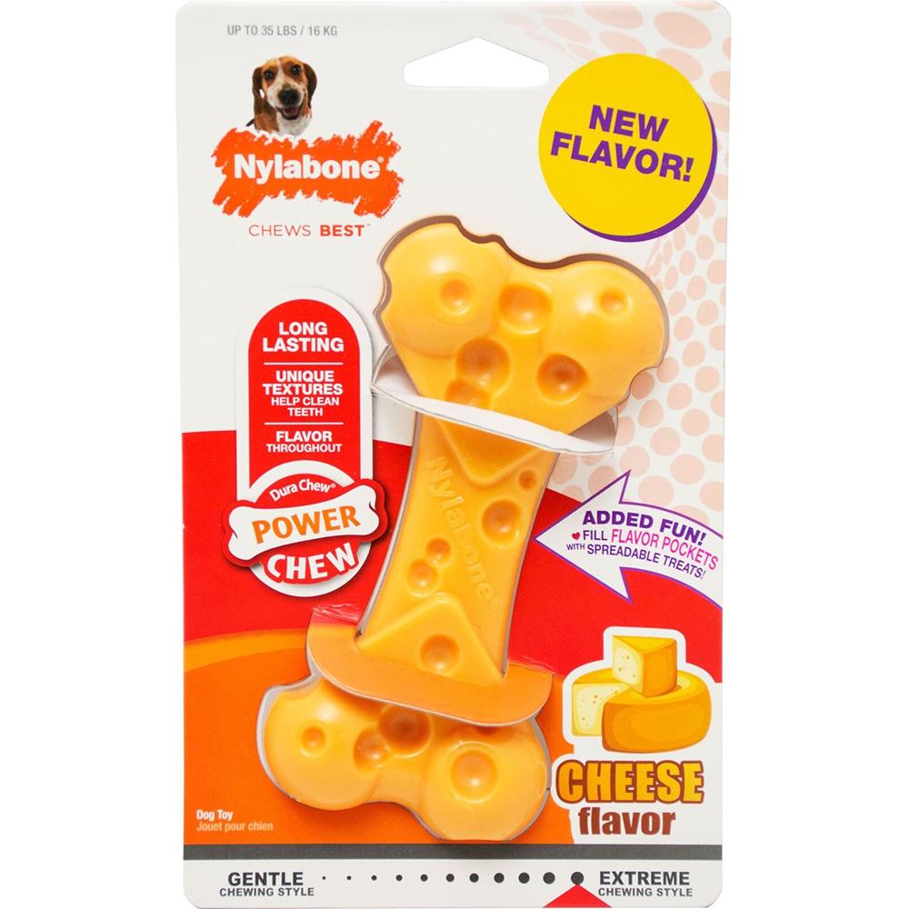 Игрушка для собак NYLABONE Косточка экстра жесткая с ароматом сыра М фото