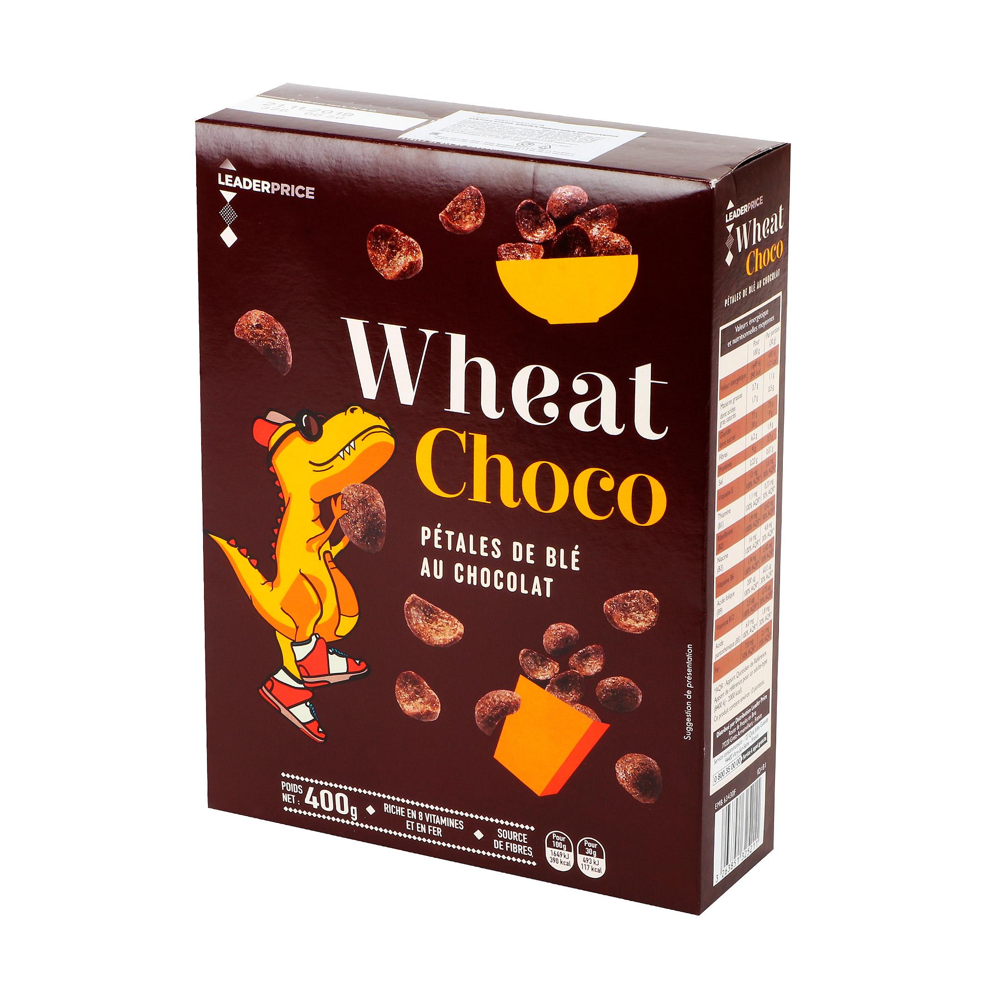 Хлопья пшеничные LEADER PRICE Wheat Choco шоколадные 400 г