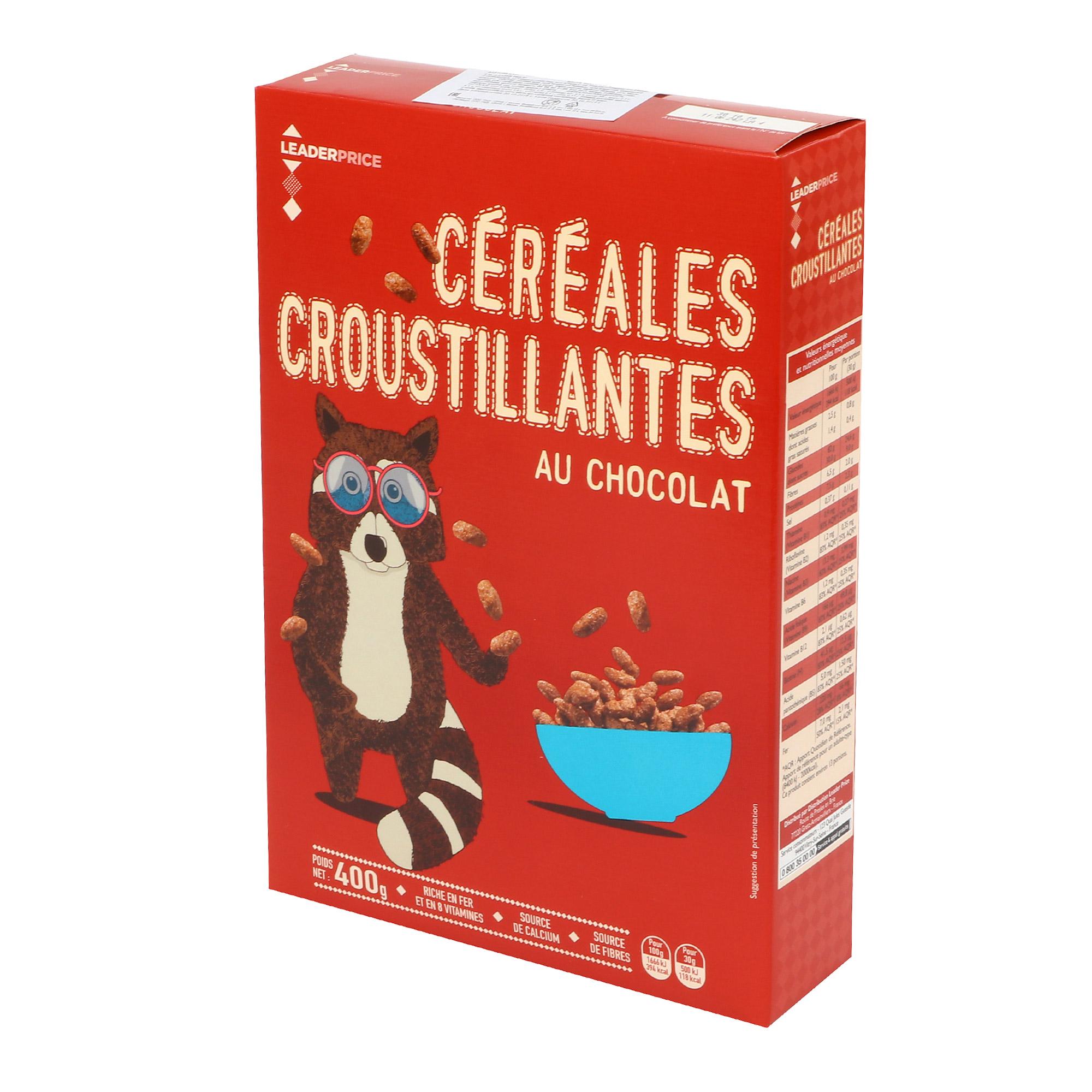 Хлопья рисовые LEADER PRICE Cereales Croustillantes шоколадные 400 г