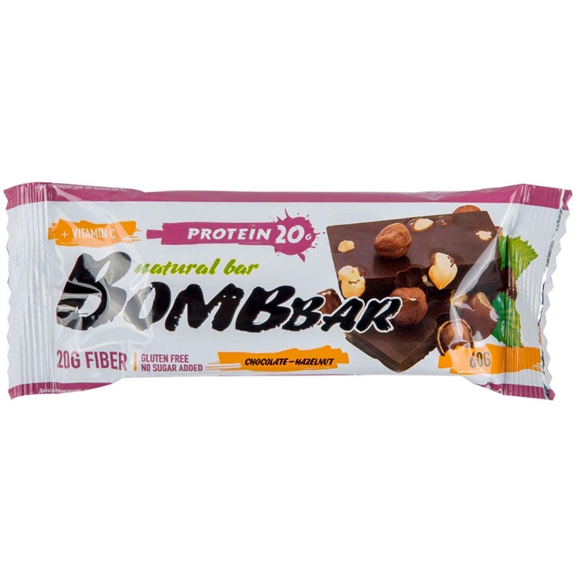 Батончик протеиновый Bombbar Шоколад, фундук 60 г батончик протеиновый bombbar датский бисквит 60 г