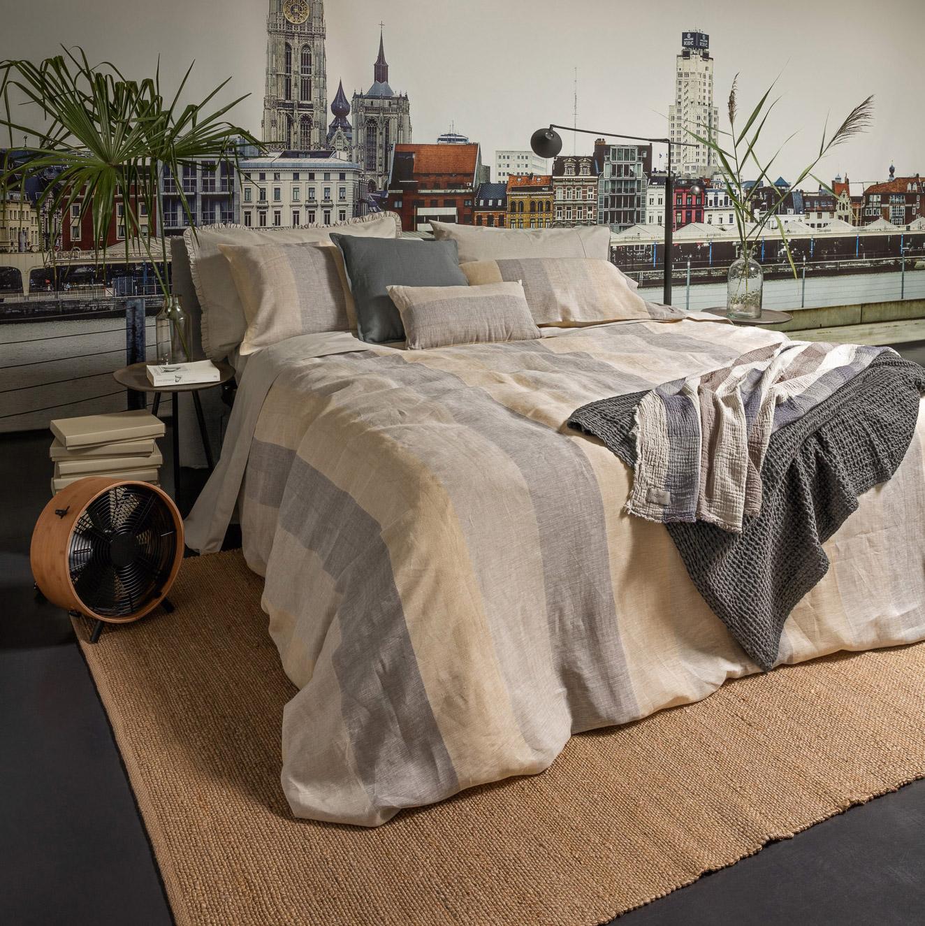 Постельный комплект Fazzini vernissage семейный 200х220 см naturale/grigio