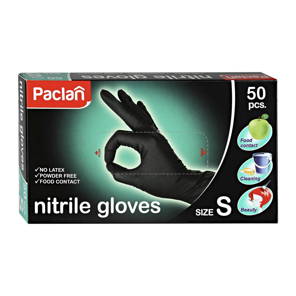 Перчатки нитриловые Paclan черные S 50 шт фото