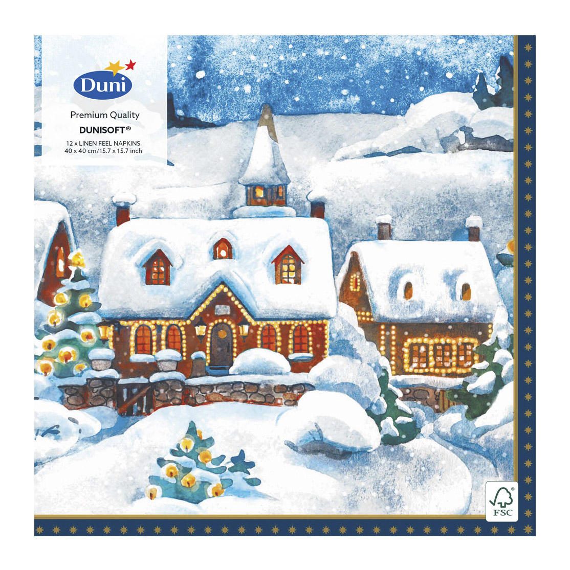 Салфетки Duni Lin Soft WINTER VILLAG 40x40 12 шт