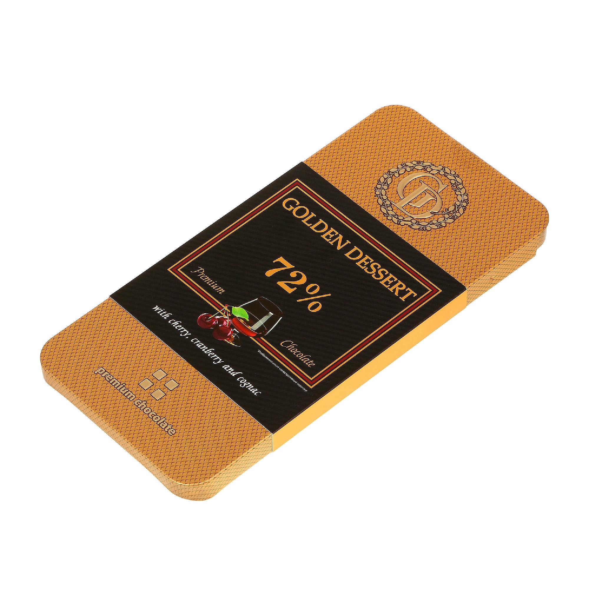 шоколад villars 72% горький 100 г Шоколад горький GOLDEN DESSERT 72% с вишня с коньяком 100 г