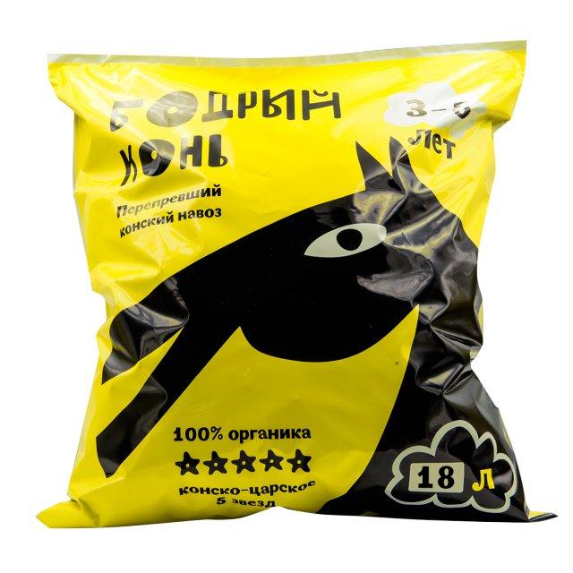 Купить Навоз конский Лама Торф Бодрый конь 18 л, Лама торф, удобрение, Россия