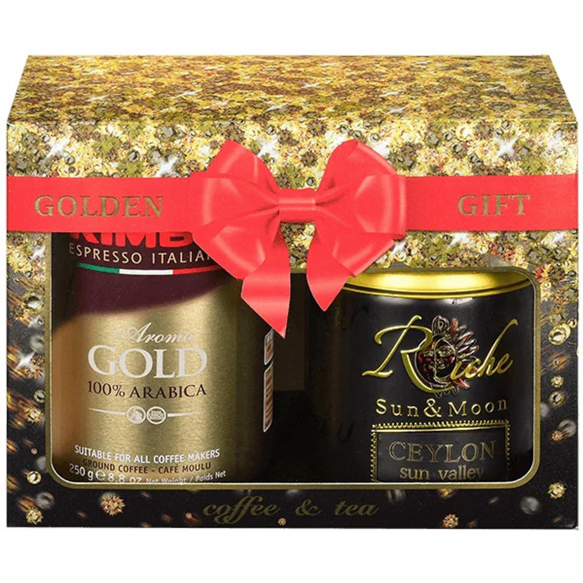Набор подарочный Kimbo Golden Gift: кофе молотый Kimbo Gold 250 г + Чай Riche Natur Цейлон 100 г