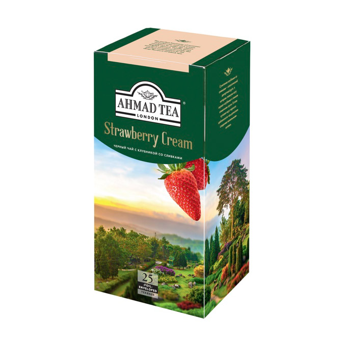 Чай Ahmad Tea Strawberry Cream черный 25 пакетиков чай ahmad tea ceylon черный 25 пакетиков