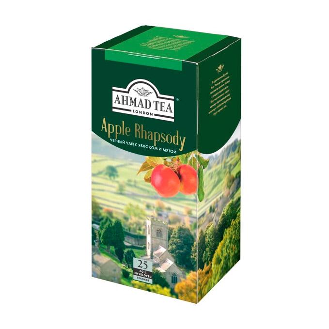 Чай Ahmad Tea Apple Rhapsody с яблоком и мятой черный 25 пакетиков чай ahmad tea ceylon черный 25 пакетиков