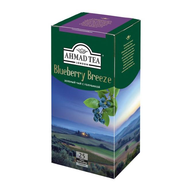 Чай Ahmad Tea Blueberry Breeze зеленый с голубикой 25 пакетиков чай ahmad tea strawberry mousse зеленый 20 пакетиков