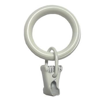 Кольца с зажимом Арт-декор белый диаметр 20, 10 шт.
