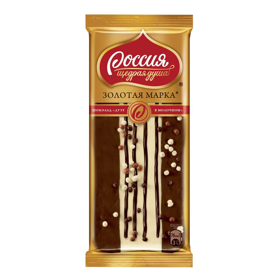 шоколад россия щедрая душа золотая марка дуэт с фундуком молочный с фундуком 85 г Шоколад Россия Золотая Марка Дуэт в молочном 85 г
