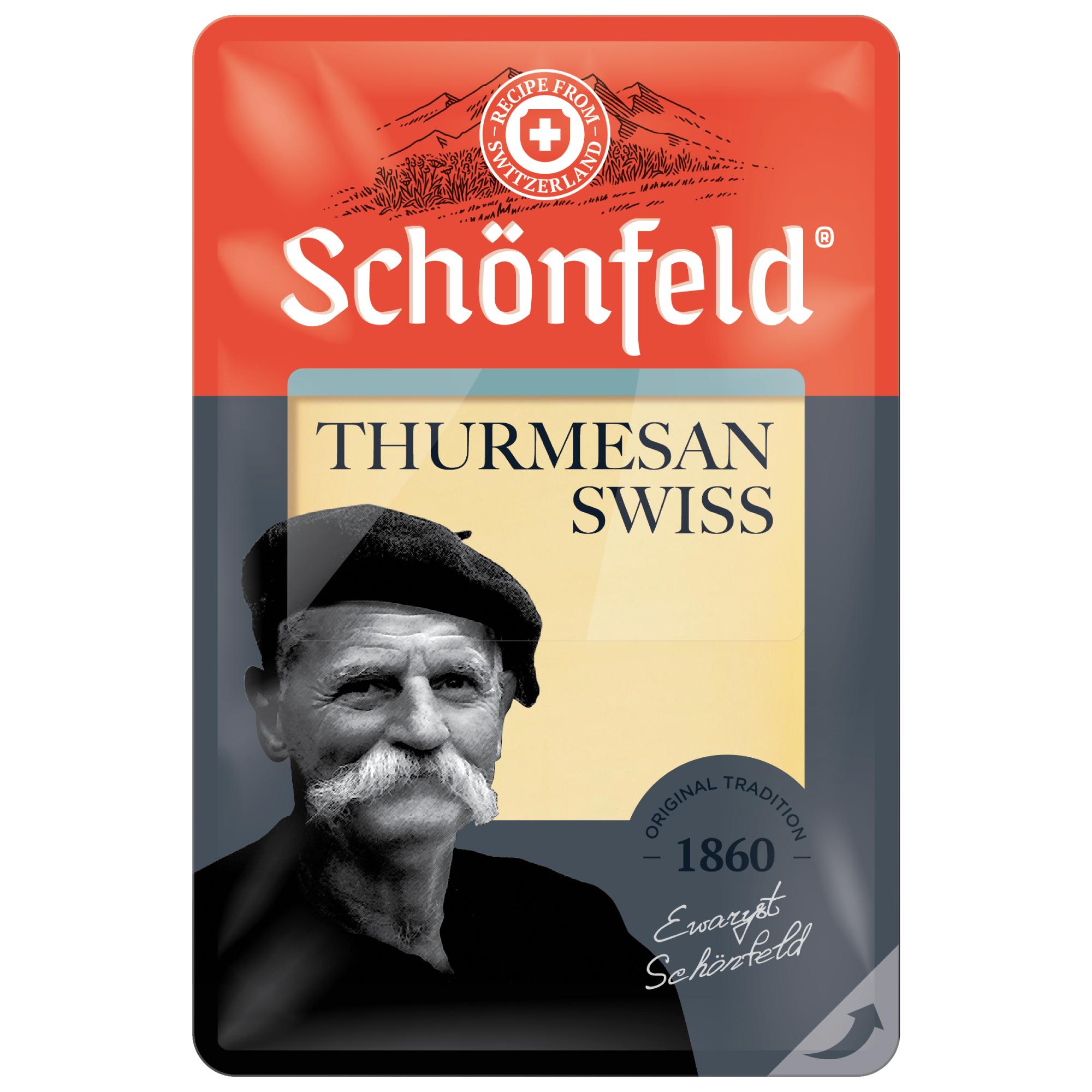 Сыр Schonfeld Swiss Thurmesan нарезка 52% 125 г сыр полутвердый schonfeld pepato с перцем горошком 50% кг