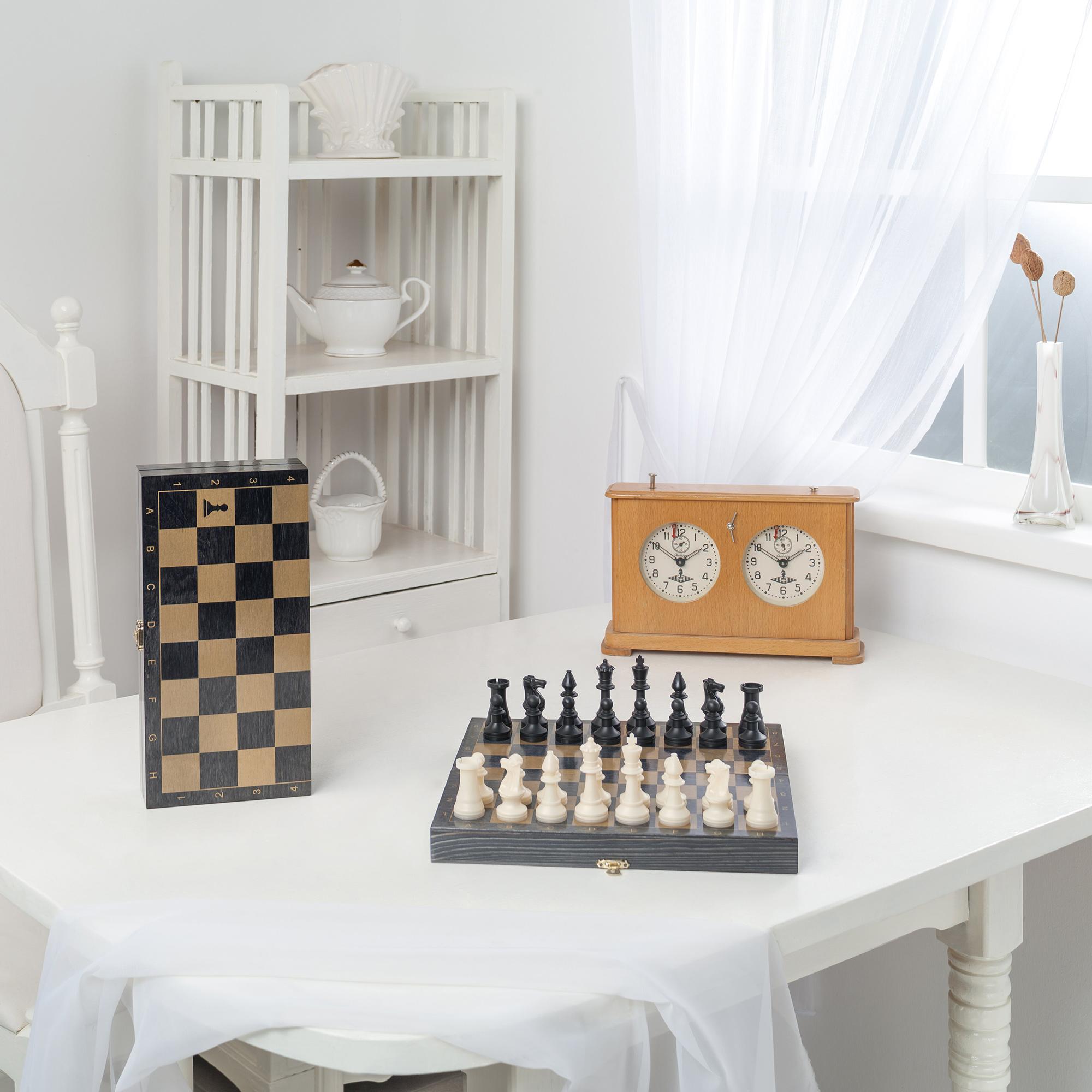 Шахматы походные пластмассовые Libera с деревянной доской