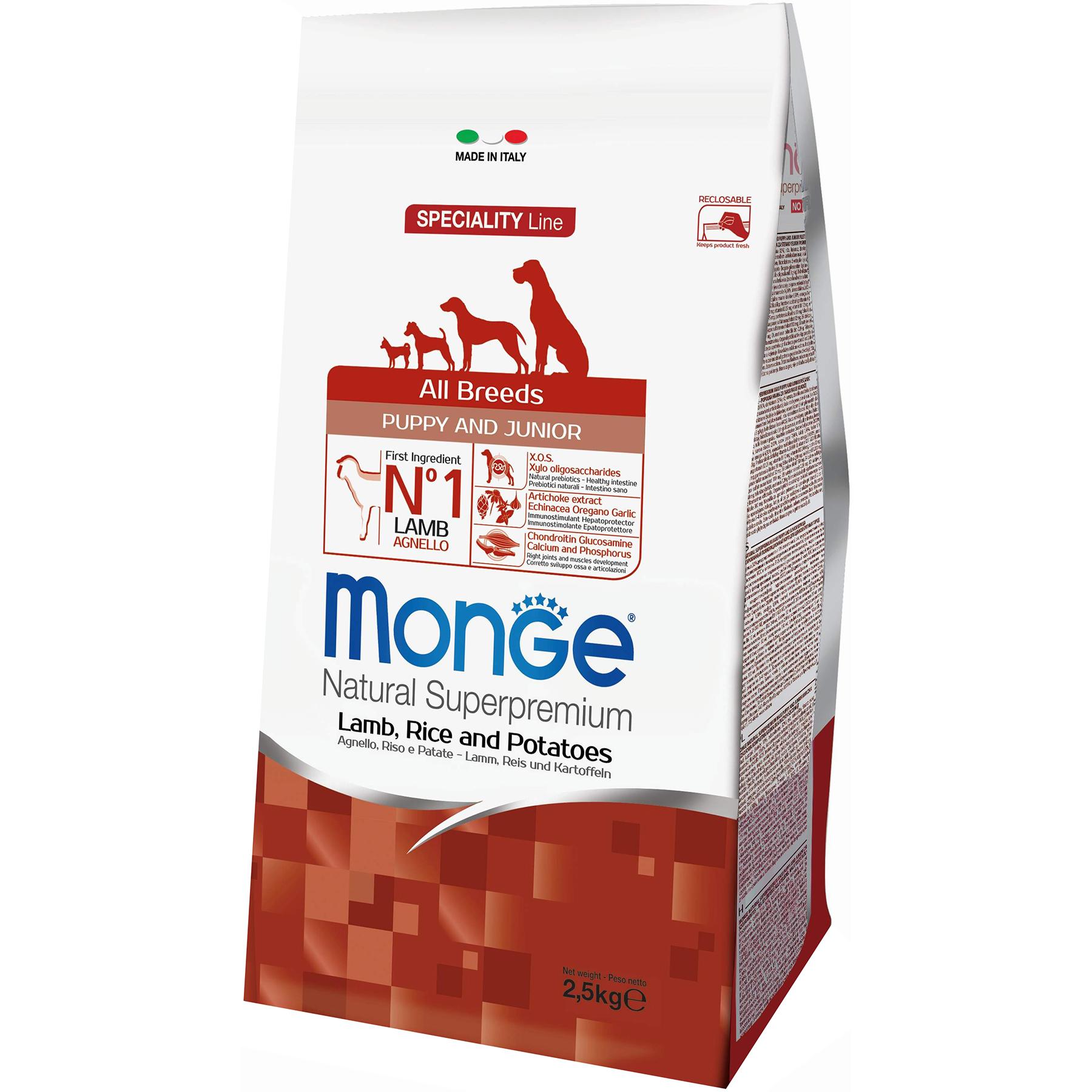 Корм для щенков Monge Dog Speciality Puppy & Junior Ягненок, Рис и Картофель 2,5 кг