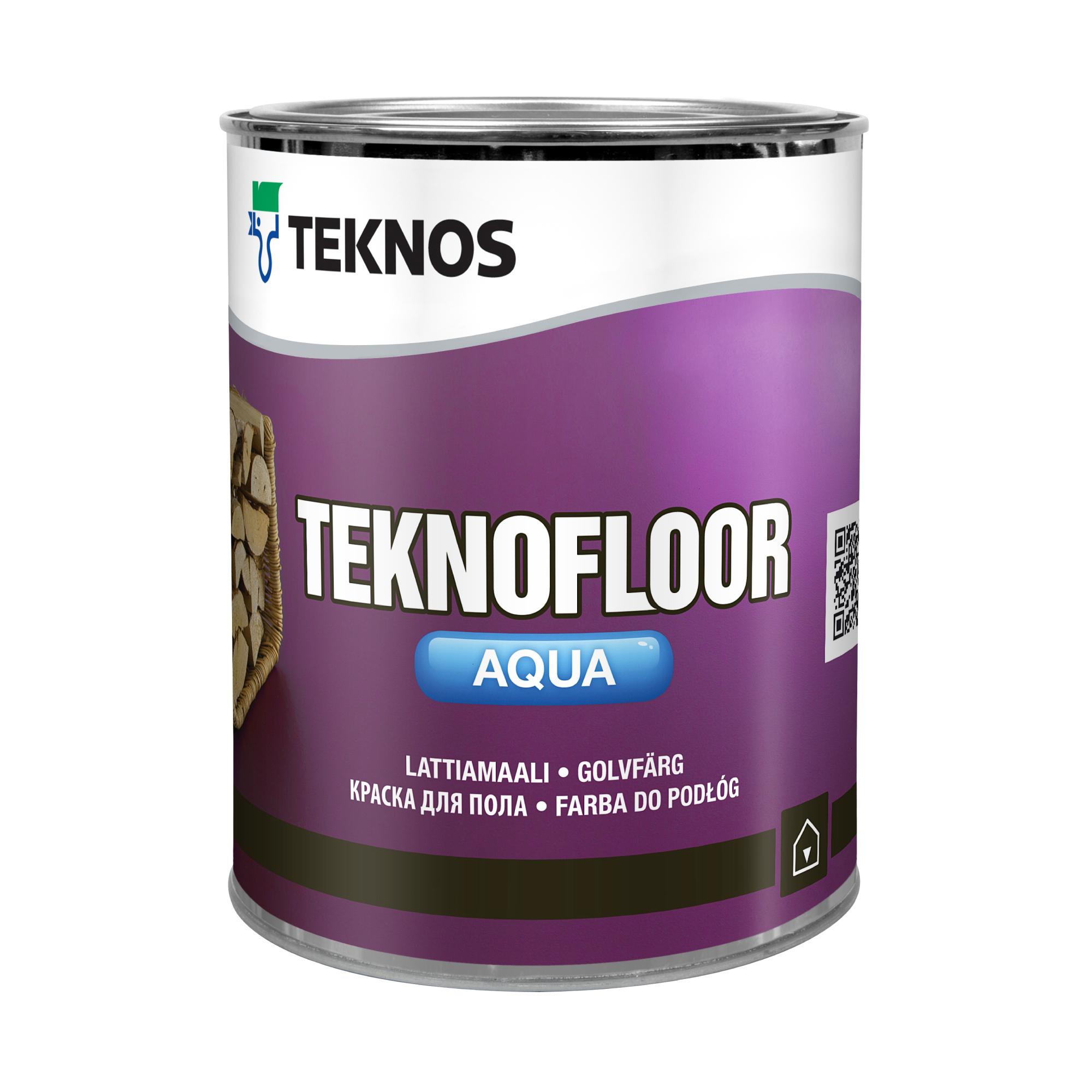 Краска Teknos полуглянцевая белая Teknofloor Aqua PM1 1/0,9 л фото