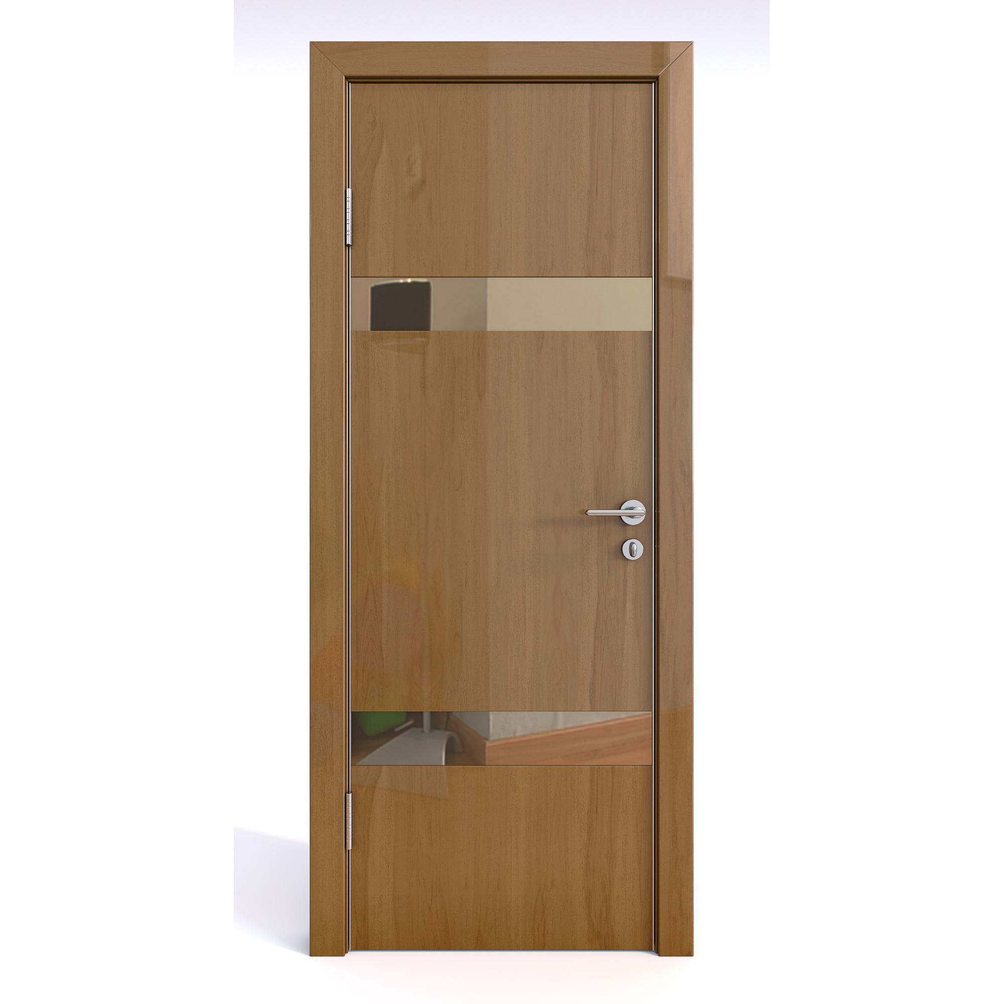 Межкомнатная дверь ДО-502/2 Анегри темный глянец/бронза 200х60 фото