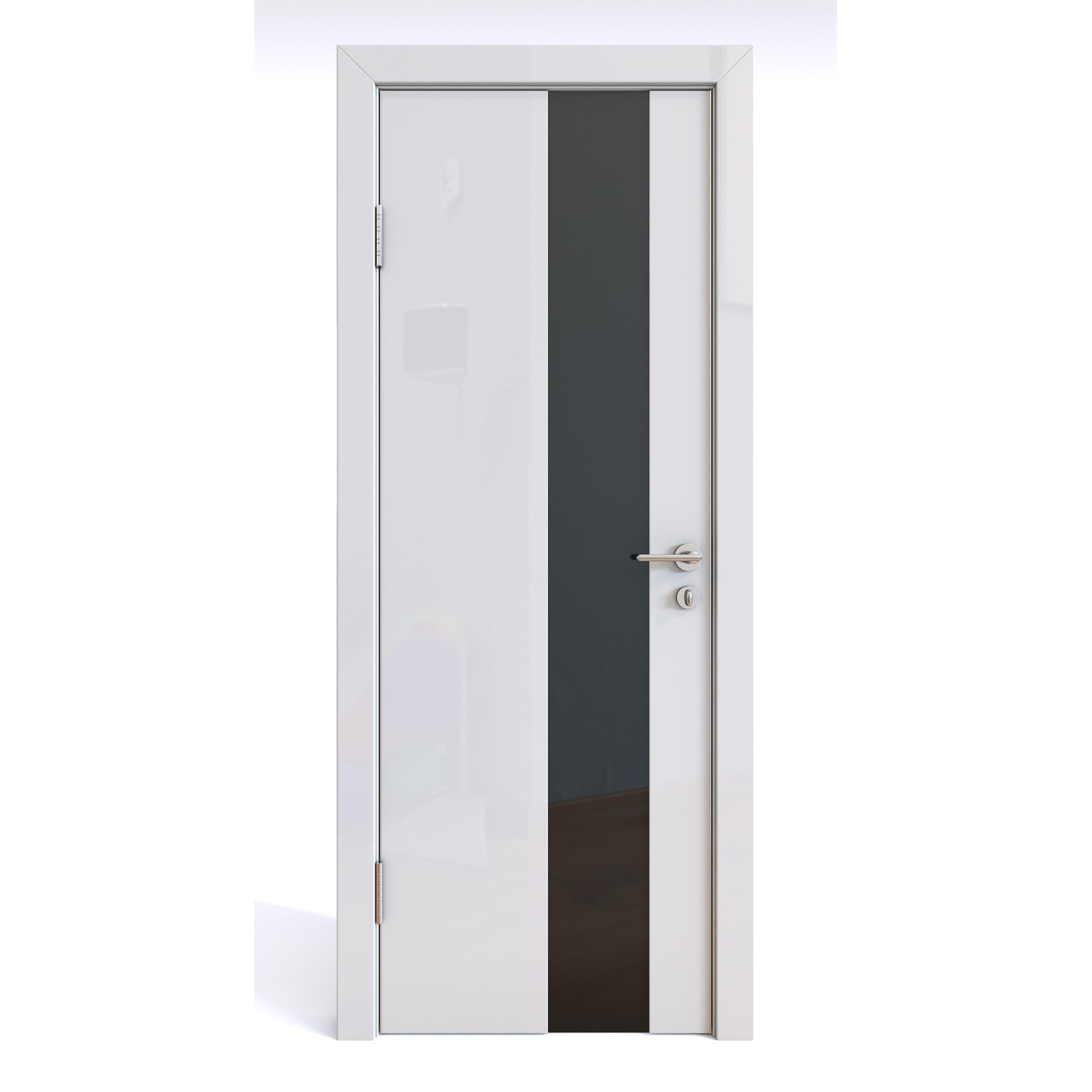 Межкомнатная дверь ДО-504/2 Белый глянец/черное 200х80 фото