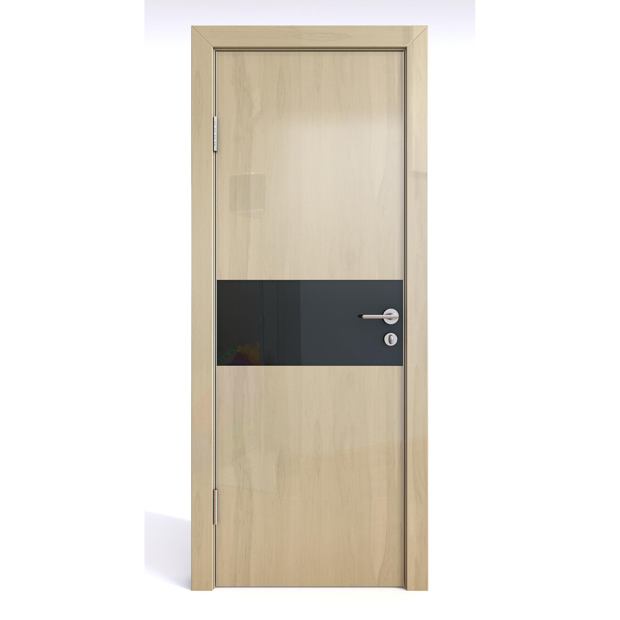 Межкомнатная шумоизоляционная дверь ДО-601 Анегри светлый глянец/черное 200х80 фото