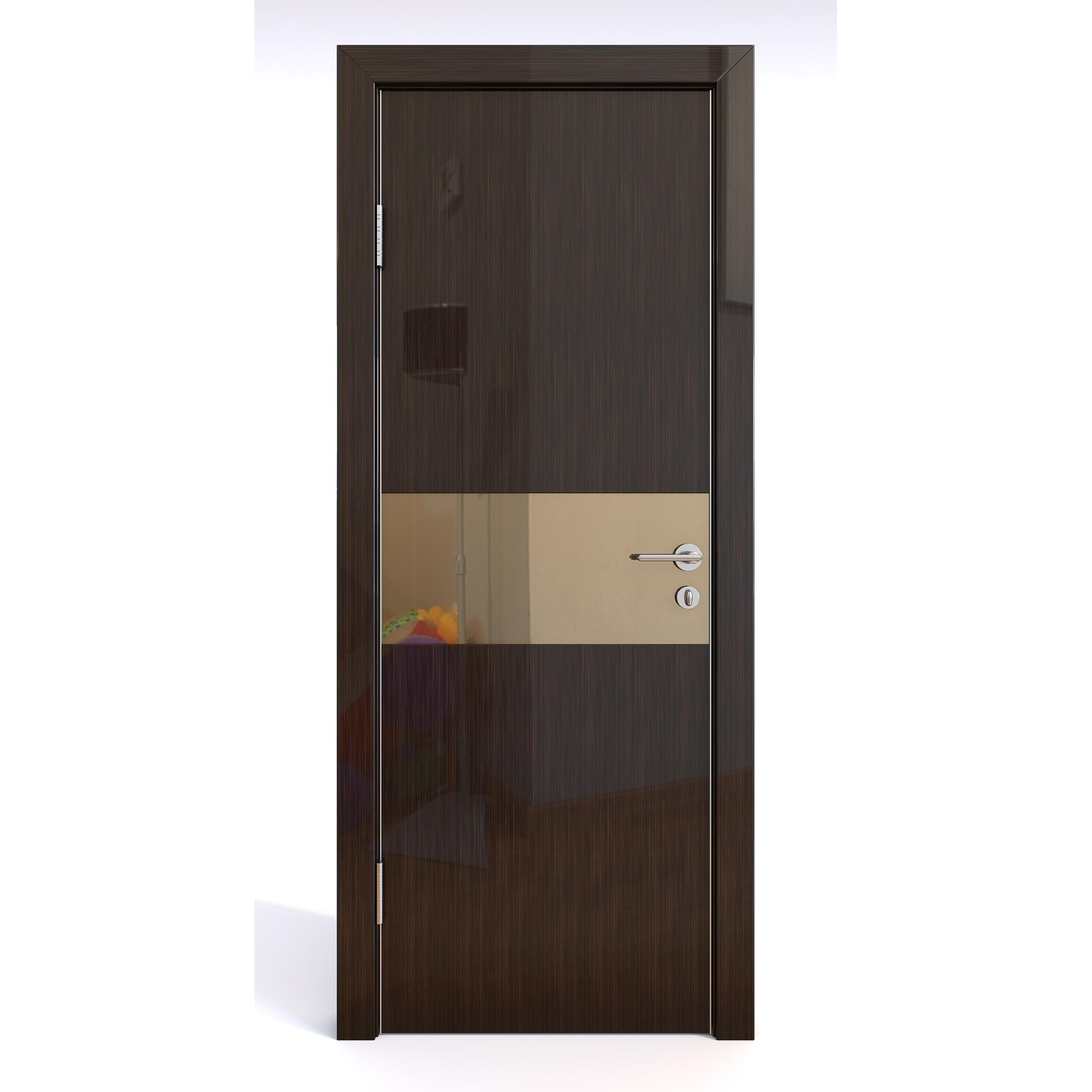 Межкомнатная шумоизоляционная дверь ДО-601/1 Венге глянец/бронза 200х70 фото