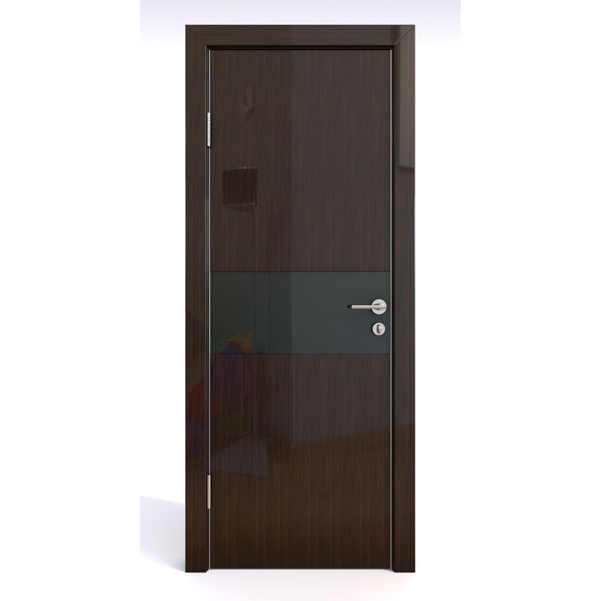 Межкомнатная шумоизоляционная дверь ДО-601/1 Венге глянец/черное 200х60 фото