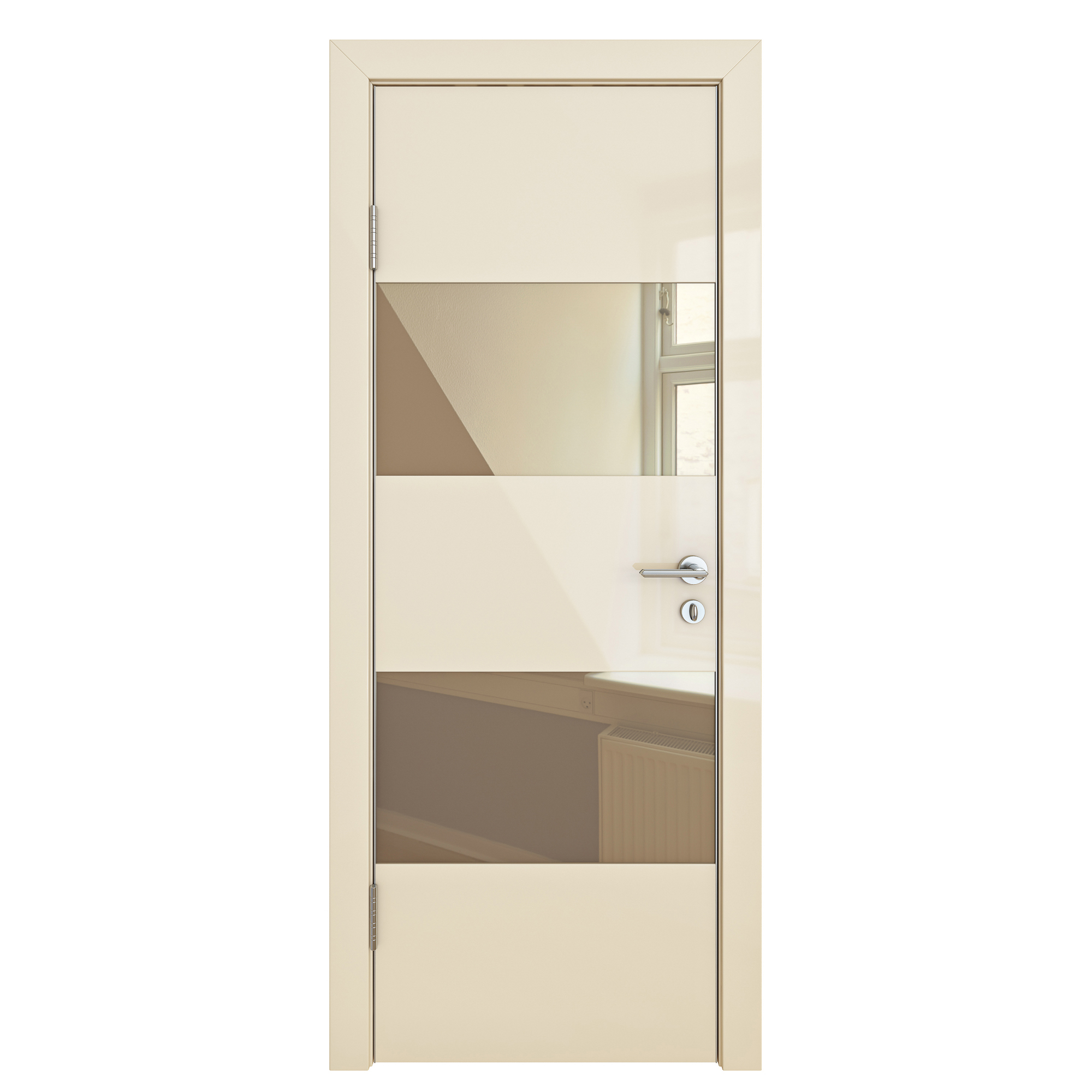 Межкомнатная шумоизоляционная дверь ДО-608 Ваниль глянец/бронза 200х60 Дверная Линия фото