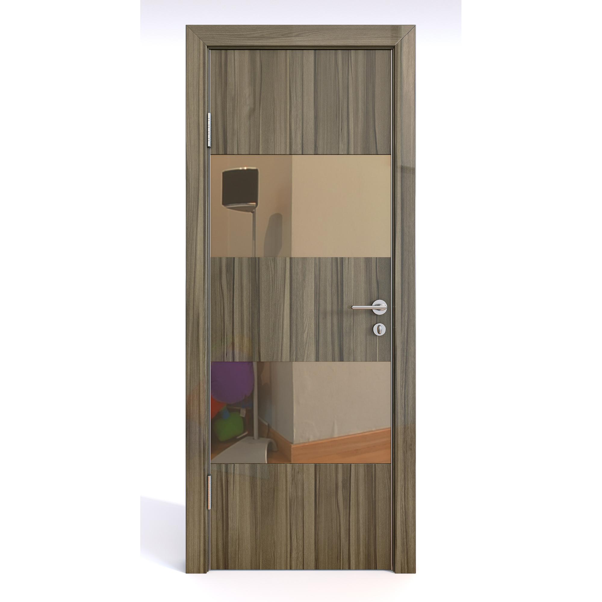Межкомнатная шумоизоляционная дверь ДО-608 Сосна глянец/бронза 200х90 Дверная Линия фото