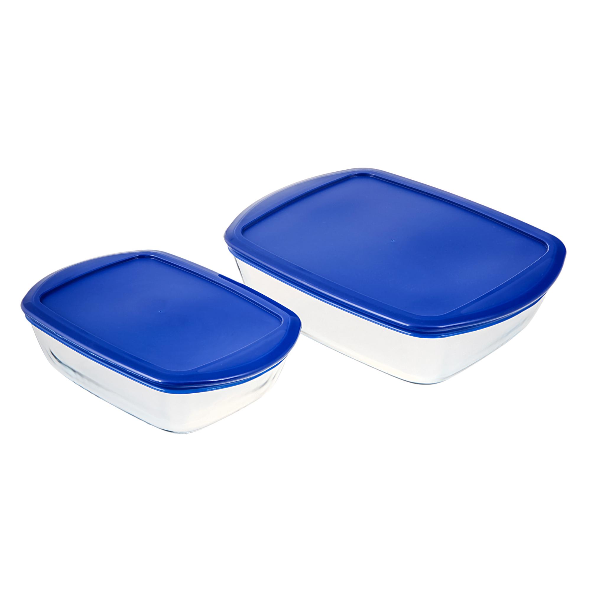 Купить Набор прямоугольных форм 2шт для запекания и хранения 1, 1/2, 75 л Pyrex, Франция, закаленное боросиликатное стекло, пластик