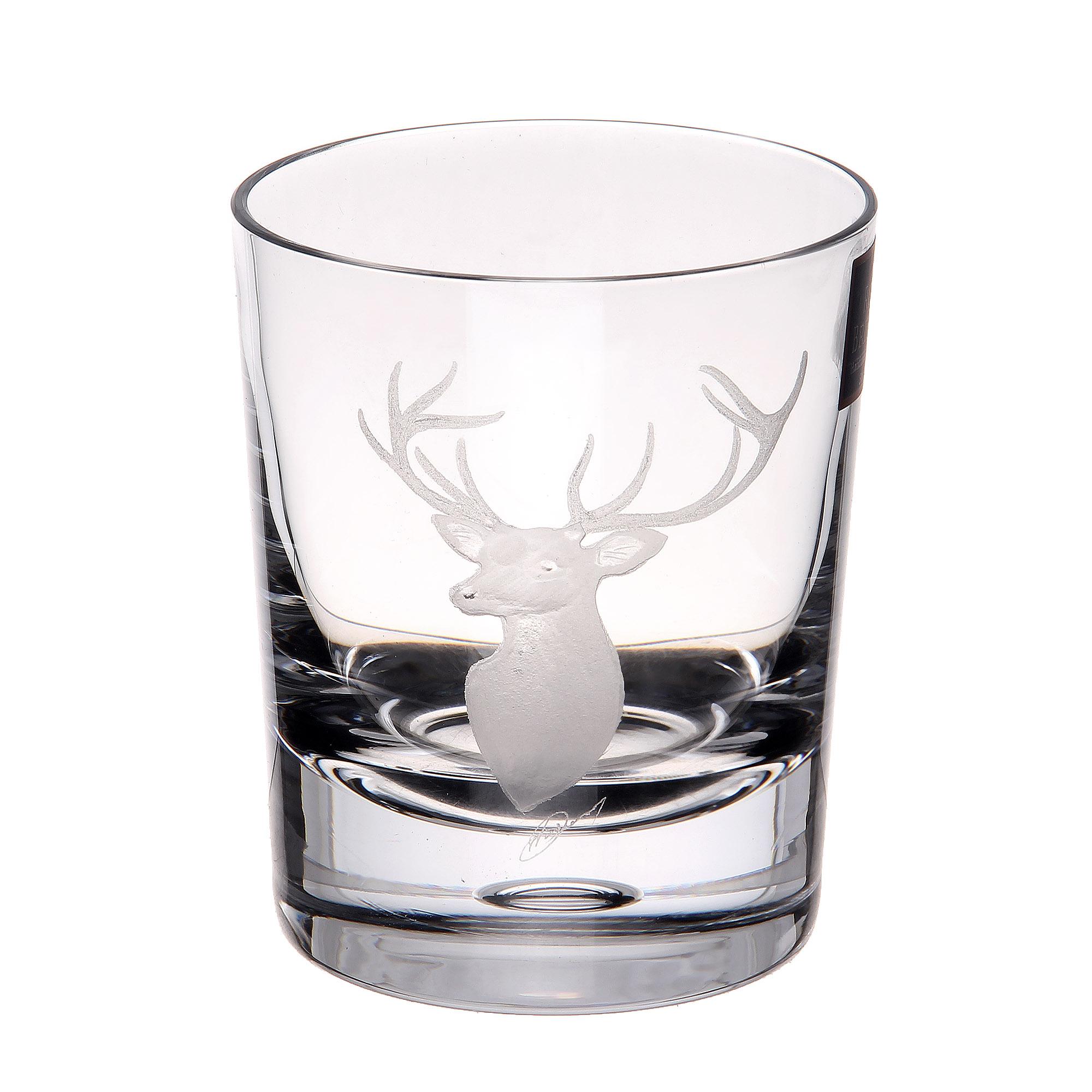 Купить Стакан для виски Dartington crystal engraved олень 300мл, Великобритания, хрусталь ручной работы (24% свинца)