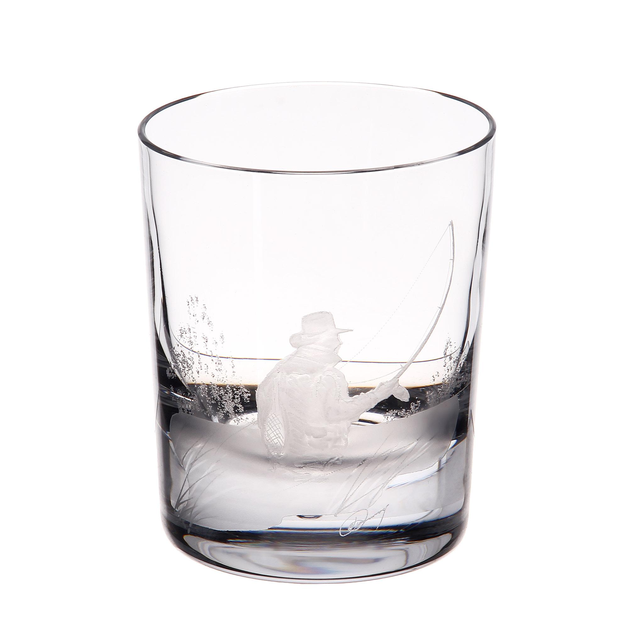 Купить Стакан для виски Dartington crystal engraved рыбак 300мл, Великобритания, хрусталь ручной работы (24% свинца)